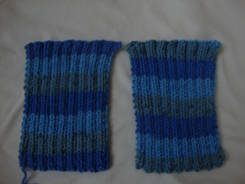 The knitted fabric before finishing stitches.
