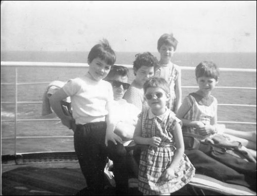 On the way to Australia. April 1967 on the deck of the ship the Castel Felice.