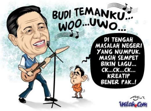 A cartoon illustrating SBY's musical activity.