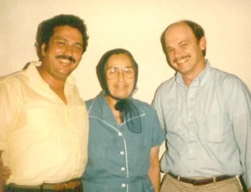 Evangelist Nick Pirovolos, his mother Despina and Bob Diamond circa 1985