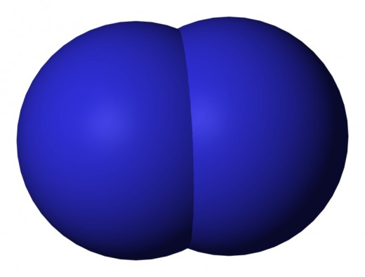 Space-filling model of Nitrogen molecule.  Image courtesy benjah and Wikimedia Commons.