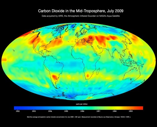 Carbon Dioxide imaged from AIRS, 2009.  Image courtesy NASA.