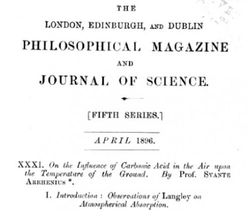 """Title Page of Arrhenius's 1896 paper on """"Carbonic Acid."""""""