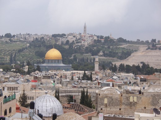 Jerusalem's Old City, with the Mount of Olives in background
