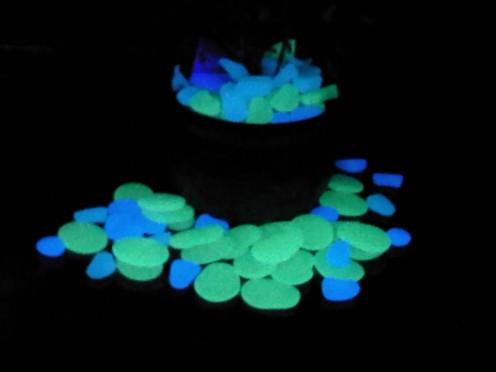 Blue, Aqua & Green Glow Pebbles & Flat Stones