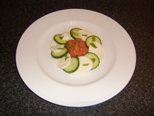 Smoked Salmon, Cucumber and Mozzarella Cocktail
