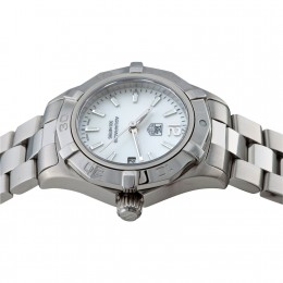 Tag Heuer stainless steel link jewelry bracelet with mother of pearl dial and diamond hour markers