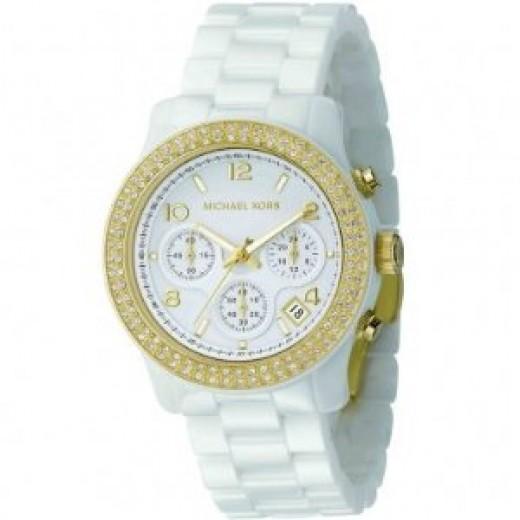 Michael Kors Women's MK5237 White Ceramic Runway Gold Glitz Watch