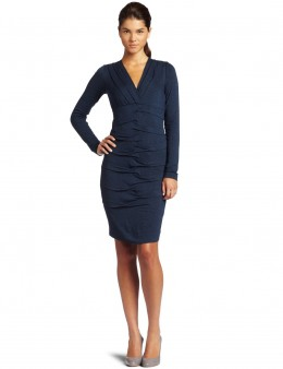 Nicole Miller v-neck, long sleeve dress.