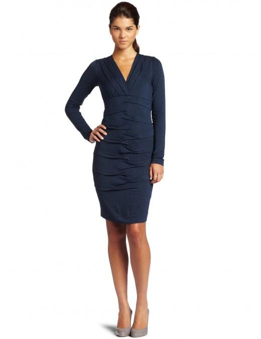 Nicole Miller v-neck, long sleeve dress.