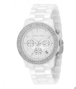 Michael Kors Ladies Crystals White Dial Ceramic Bracelet Watch Model...