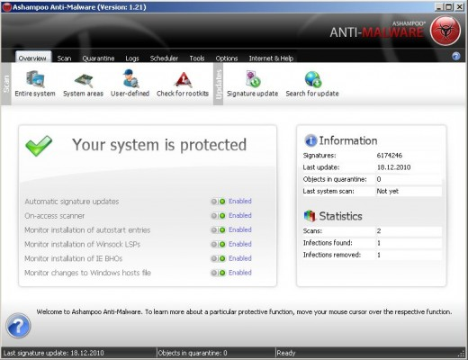 Ashampoo Anti-Malware Interface Overview