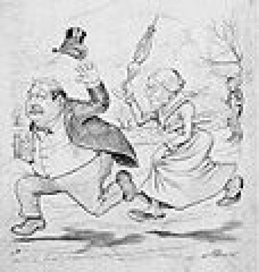 President Grover clevelan chased by susan Anthony with an Umbrella
