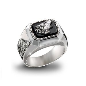 Men's Wolf Art Ring: The Call Of The Wild by The Bradford Exchange