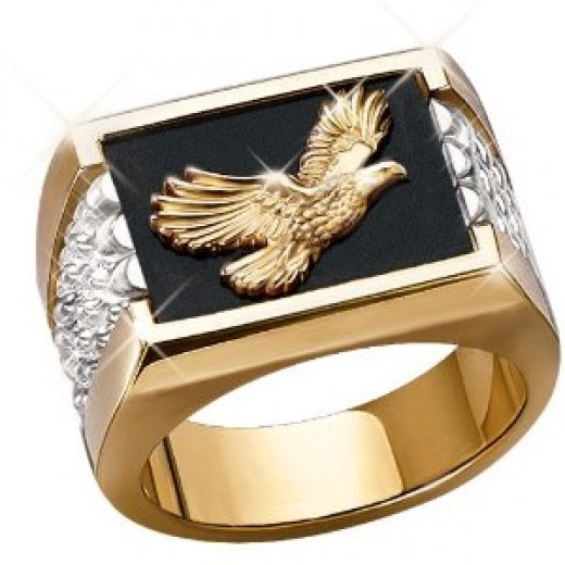 Wings Of Glory Men's 14K Gold and Sterling Silver Bald Eagle Ring
