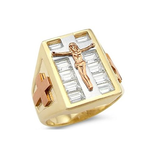 14k New Tri-Color Gold Mens Large Cross Crucifix Ring
