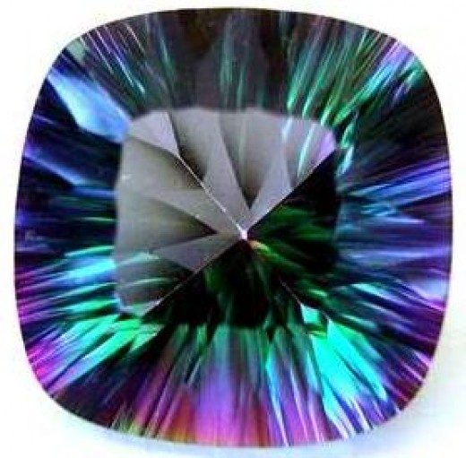 Rainbow Mystic Topaz, Square Cut