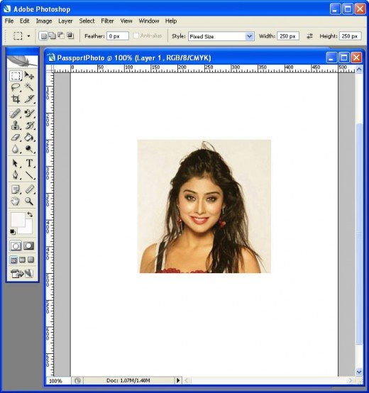 Photoshop with one passpost photo