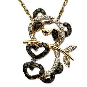14k Yellow Gold Black and White Diamond Panda Bear Pendant: The Affordable Alternative