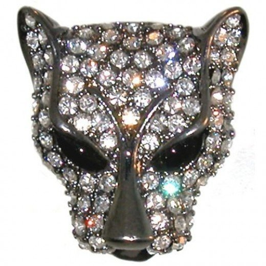 Rhinestone Pave' Panther Ring In Crystal With Hematite Finish