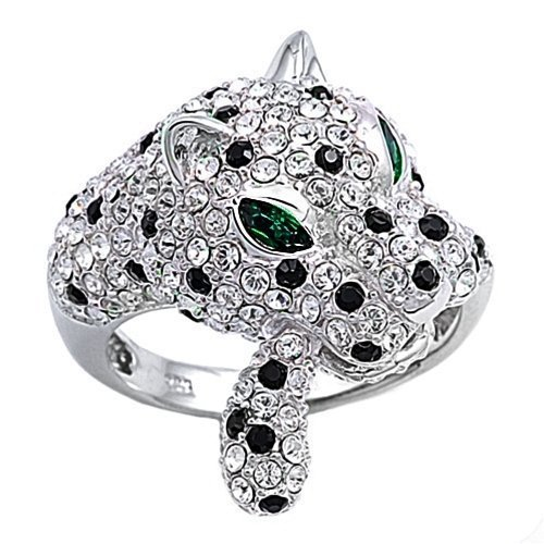Bling Jewelry Emerald Eye Onyx Pave CZ 925 Sterling Silver Vintage Panther Ring-5