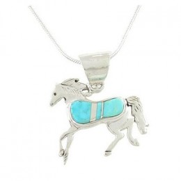Southwestern Turquoise Inlaid Horse Pendant in Sterling Silver by Native American Indian Artist Calvin Begay