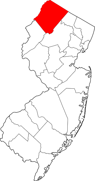 Suzzex Cunty NJ is pictured in red, at the top of the state.