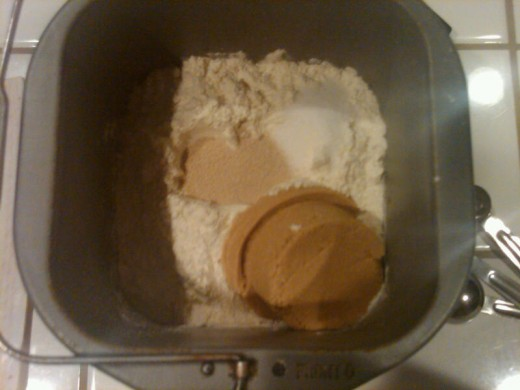 3. The rest goes in order: flour, sugar, salt, yeast.