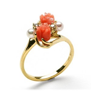 Pink Coral Ring with Diamonds in 14K Yellow Gold