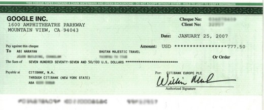 Google Paycheck sent to Bhutan Majestic Travel. This is an example of a paycheck.