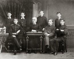 Nikolai Zverev (center), Sergei Rachmaninoff (top row third from the left)