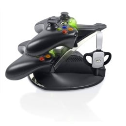 The Best Charging Stand for the Xbox 360  Charges your Wireless Headset and 2 Wireless Controllers Simultaneously!