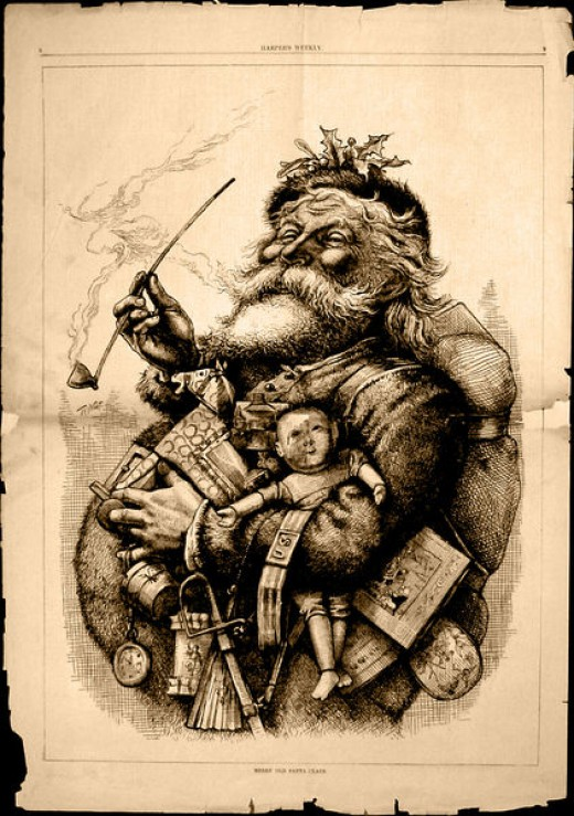 "Image of ""Merry Old Santa Claus"" by Thomas Nast, in the 1863 issue Harper's Weekly."
