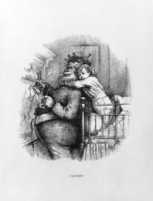 "Santa ""Caught"". Woodgraving by Thomas Nast, c1892."