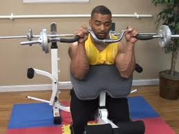 Reverse curls on preacher bench