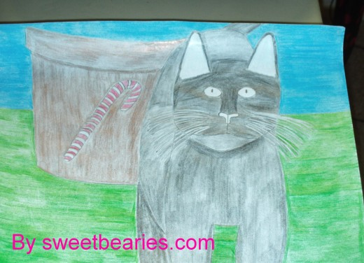 Here is the picture of the cat who is now completely colored in except for his ears.