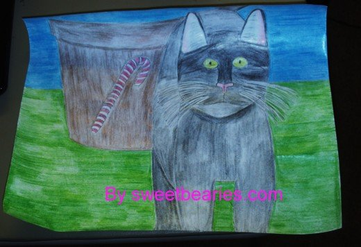 Now I have added the car and pinkish colors to the inside of the cats ears.  Meow, my Christmas cat drawing is ready to be scanned and turned into a card.