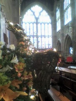 lectern and east window - malvern priory
