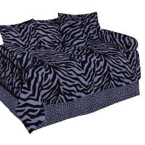 Purple & Black Zebra Daybed Bedding