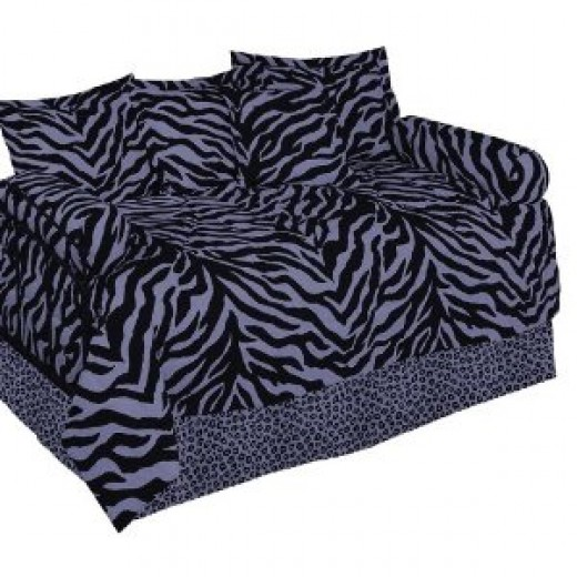 Purple & Black Zebra Daybed Bedding