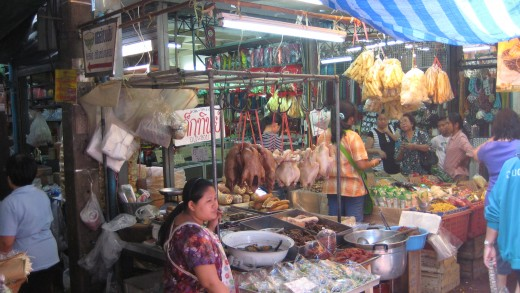 Roast ducks and boiled chickens - a staple in Thai and Chinese diet