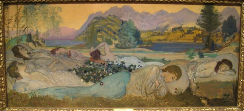 Sleep Lies Perfect in Them, 1908, by Arthur B. Davies (1862-1928)