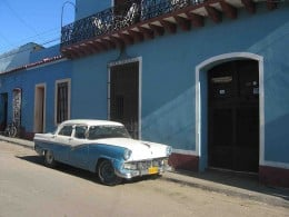 A 1956 Ford automobile in Trinidad, Cuba. The U.S. trade embargo against Cuba has prevented the importation of newer vehicles.
