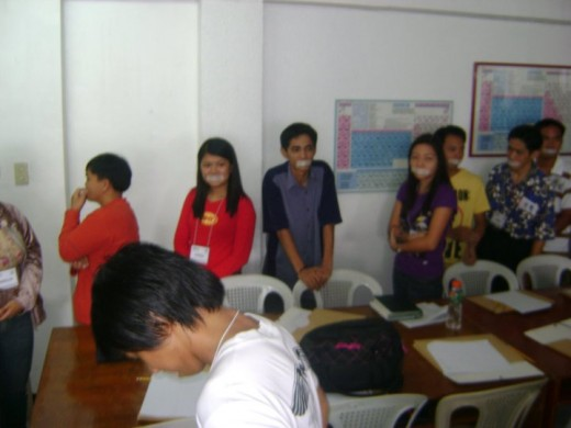 A photo from a seminar in Baguio City, Philippines. This is actually an ice breaker or a game, that is used to improve communication skill even without using words.