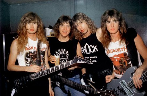 Chris Poland, second from the left, during his days with Megadeth.