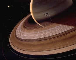 Artist's rendering of Voyager 2's closest approach to Saturn