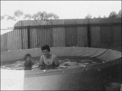Mum and my  sister in the pool on Christmas Day in Lamaroo Australia 1967