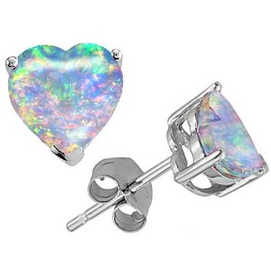 3.00 cttw 14K White Gold Plated 925 Sterling Silver Heart Shaped Created Opal Earring Studs