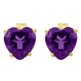 14k Yellow Gold Amethyst Heart Shaped Stud Earrings
