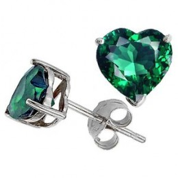 3.00 cttw 14K White Gold Plated 925 Sterling Silver Heart Created Emerald Earring Studs